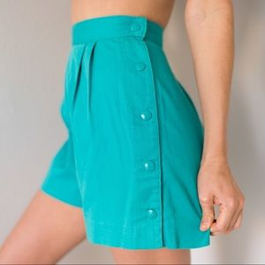 Vintage High Waisted Pleated Button Shorts